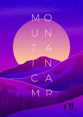 Vector violet summer mountain camping poster © tashalex