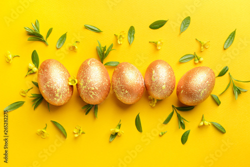 Beautiful Easter eggs on color background © Leonid