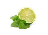 Melissa leafs with lime isolated on white background