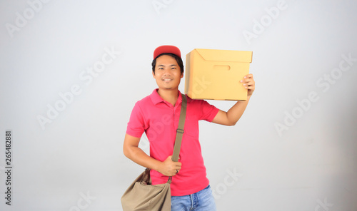 Parcel delivery person on white background