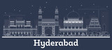Outline Hyderabad India City Skyline with White Buildings.
