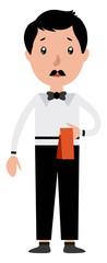 Cartoon serious waiter illustration vector on white background © Morphart
