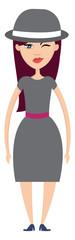 Woman in grey skirt illustration vector on white background © Morphart