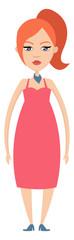 Ginger Girl illustration vector on white background © Morphart