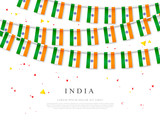 Garland of Indian flags. Independence Day of India. Vector illustration