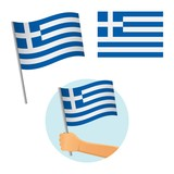Greece flag in hand
