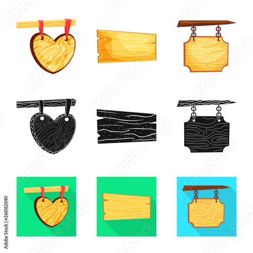 Isolated object of raw  and forest  sign. Set of raw  and hardwood stock vector illustration.