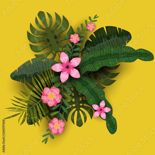 Summer Trendy Template Exotic Plants And Hibiscus Flowers Tropical