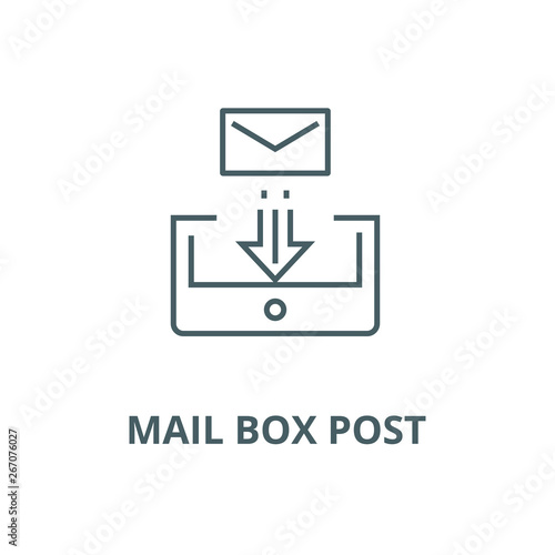Mail box post vector line icon, outline concept, linear sign