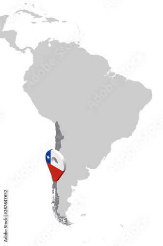 Map Of America 3d Vector.Chile Location Map On Map South America 3d Chile Flag Map Marker