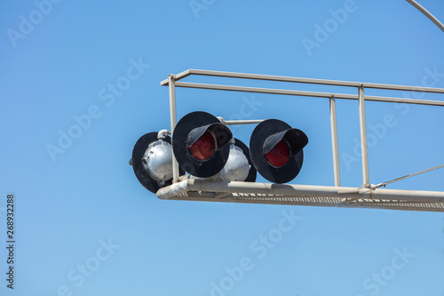 Set of four railroad crossing lights and ramp